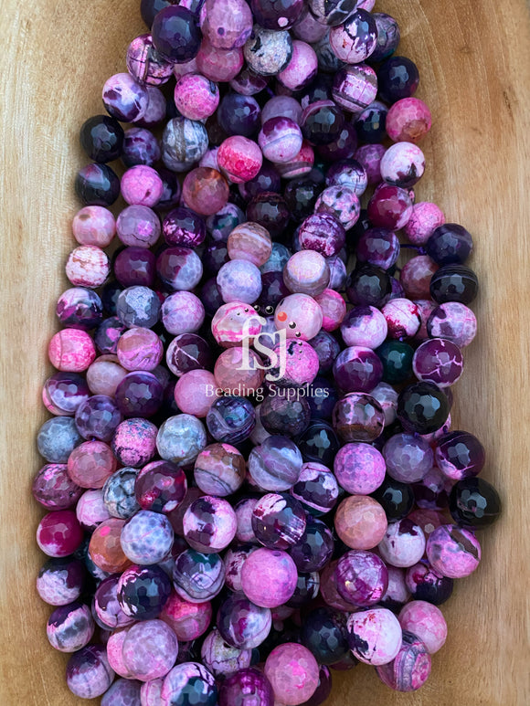 14mm Faceted Multi Colored Agate - Pink/ Maroon Mix - FSJ Beading Supplies