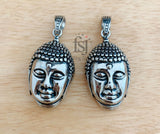 316 Stainless Charm/Steel Pendant, Buddha Head, Antique Silver - FSJ Beading Supplies