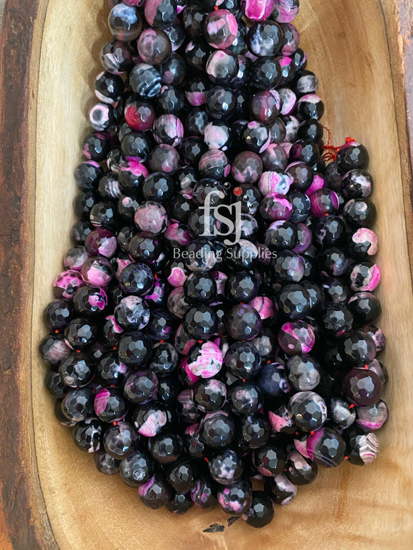 14mm Faceted Fire Agate-Pink/Black - FSJ Beading Supplies
