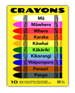 10 Crayons labeled in Maori and English