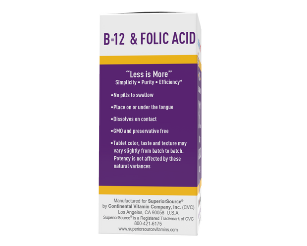Copy of Superior Source NO SHOT Cyanocobalamin B-12 1,000 mcg/ Folic Acid 400 mcg