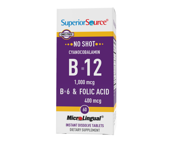 Superior Source NO SHOT B-12 1,000 mcg (as Cyanocobalamin) / B-6 / Folic Acid 400 mcg