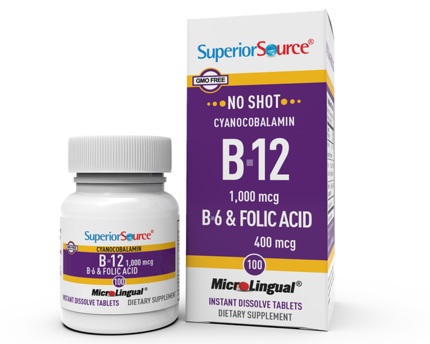 Superior Source No Shot Vitamin B6 - Vitamin B12 - Folic Acid Nutritional Supplements