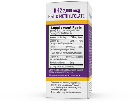 Superior Source NO SHOT Methylcobalamin Activated B-12 2,000 mcg / B-6 (P-5-P) & Methylfolate 1,200 mcg