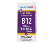 Superior Source NO SHOT Methylcobalamin B-12 1,000 mcg / B-6 / Folic Acid 800 mcg