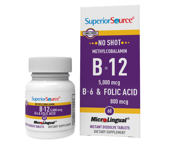 Superior Source NO SHOT Methylcobalamin B-12 5,000 mcg / B-6 / Folic Acid 800 mcg