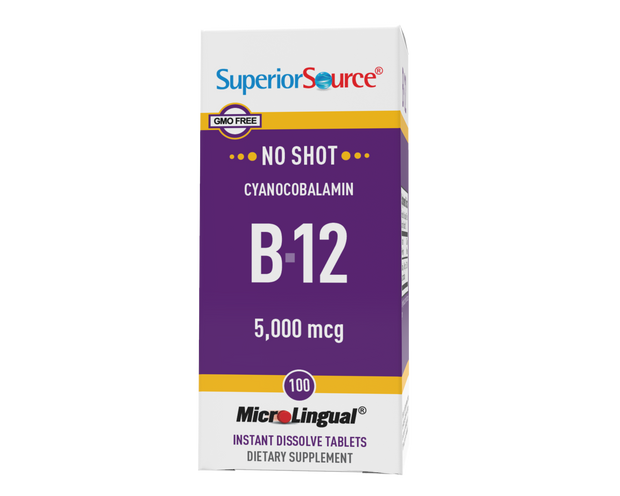 Superior Source NO SHOT B-12 5,000 mcg (as Cyanocobalamin)