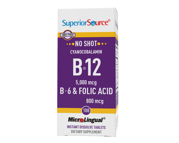 Superior Source NO SHOT B-12 5,000 mcg (as Cyanocobalamin) / B-6 / Folic Acid 800 mcg