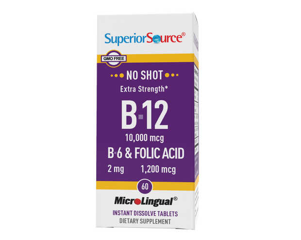 Superior Source NO SHOT B-12 10,000 mcg / B-6 / Folic Acid 1,200 mcg
