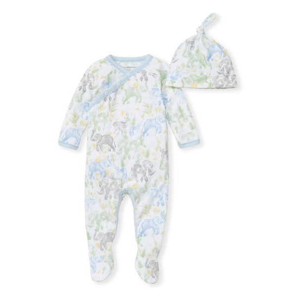 Ello Elephant Jumpsuit & Top Knot Hat Set