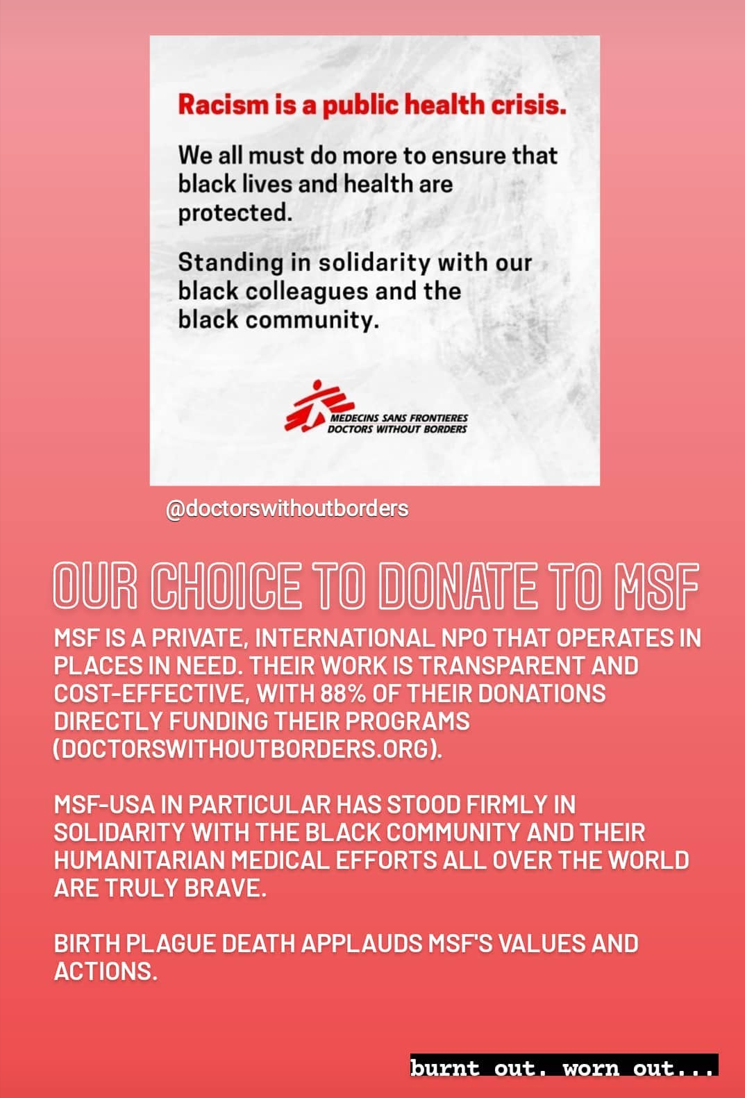 our choice to donate to MSF