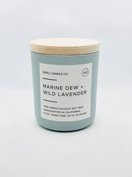 Marine Dew + Wild Lavender Coconut Soy Candle with Wooden Wick