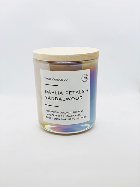 Dahlia Petals + Sandalwood Coconut Soy Candle with Wooden Wick