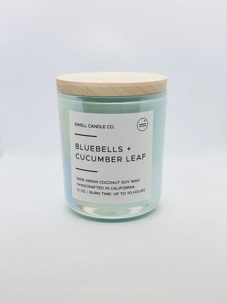 Bluebells + Cucumber Leaf Coconut Soy Candle with Wooden Wick