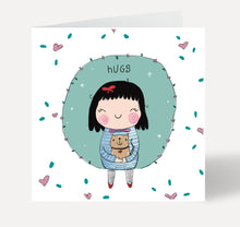 Load image into Gallery viewer, Hugs Girl and Cat Greeting Card