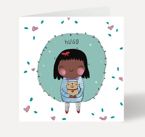 Hugs Girl and Cat Greeting Card