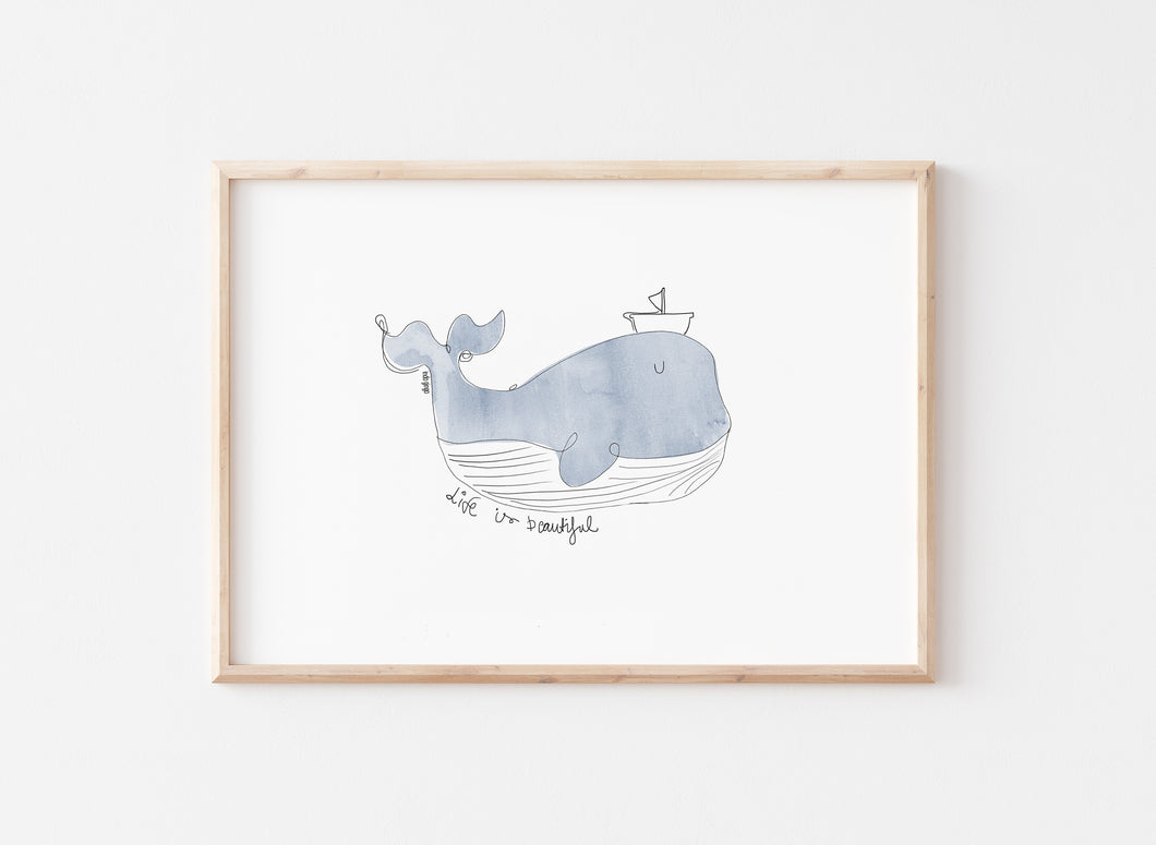 Life Is Beautiful Whale Nursery Kids Art Print