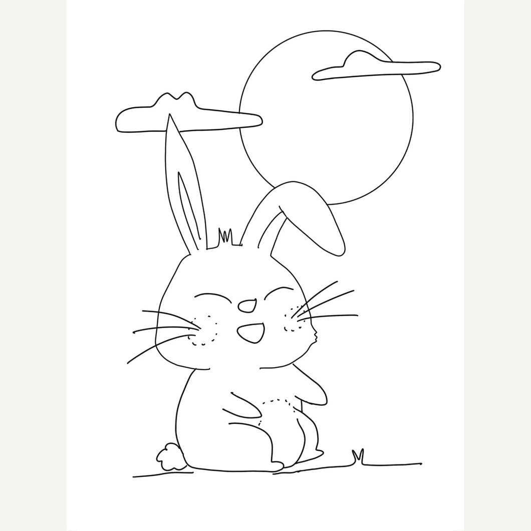 Mid Autumn Festival Rabbit and the Moon - Free Colouring sheet