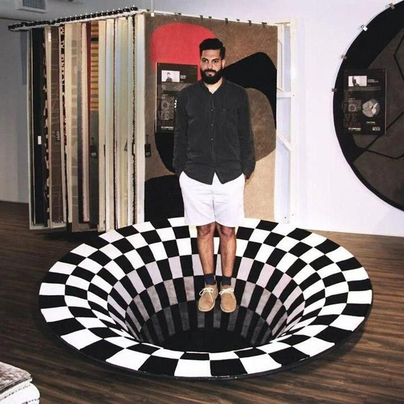 3D Black Hole Vortex Illusion Rug