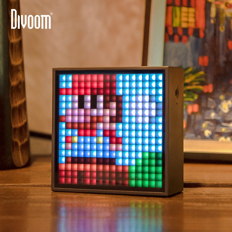 Next Gen Tech Portable Speaker Pixel Art Creation with Clock Alarm Programmable LED Display - Fun Tech Gifts