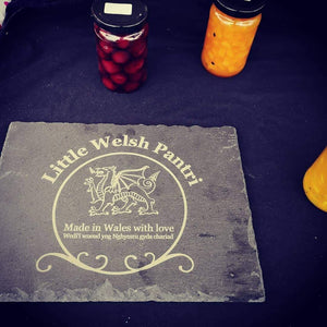 Engraving Slate with business logo engraved.