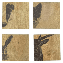 Load image into Gallery viewer, Set of 4 Wildlife Wood Coasters - Hillside Crafts