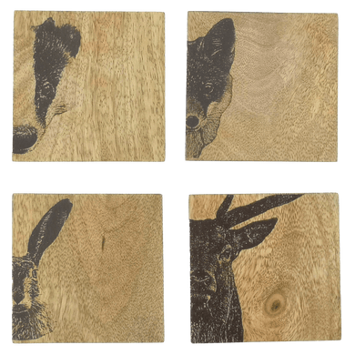 Set of 4 Wildlife Wood Coasters