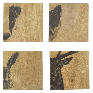 Set of 4 Wildlife Wood Coasters - Hillside Crafts