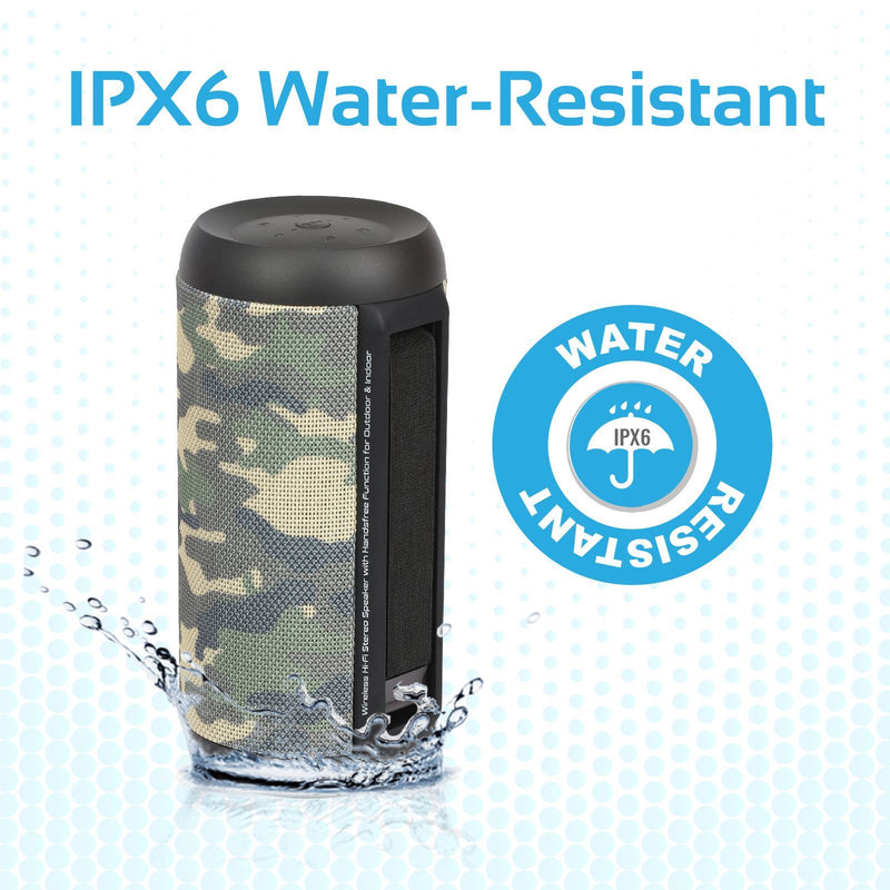 PROMATE 20W SILOX Bluetooth speaker with AUX, USB and MicoSD Playback, FM Radio, Handsfree and TWS function. IPX6 water resistant.