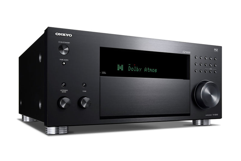 ONKYO TXRZ830B 9.2 Channel Network A/V Receiver. HDR10, Dolby Vision. THX Certified select reference sound. Dolby Atmos or DTS:X home cinema. Chromecast  built-in, Airplay. Colour Black
