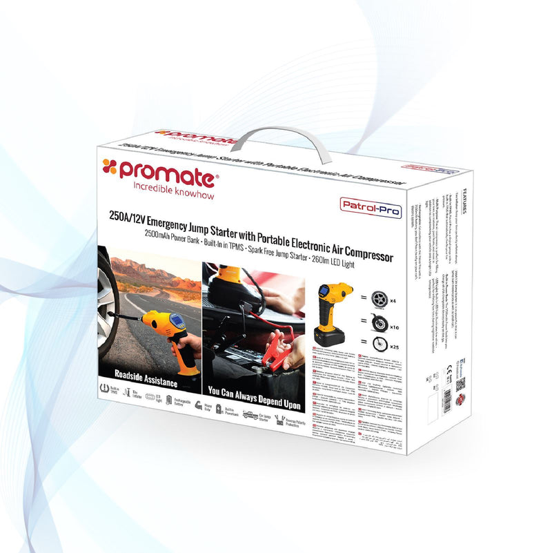 PROMATE 12V Car Jump Starter Kit. Includes Electronic Air Compressor 2500mAh built-in Power Bank, 260lm LED Light, Built-in Tire Pressure Monitoring System. Includes Multi- Purpose attachments.