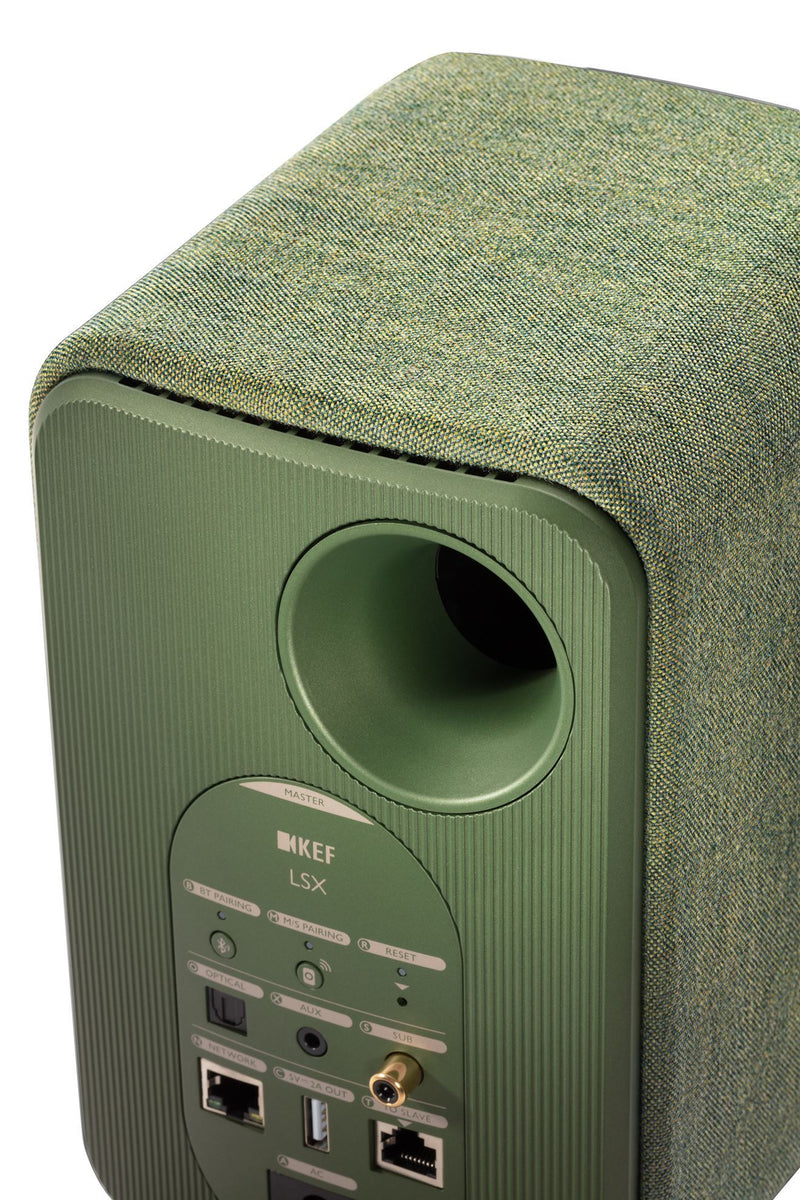 KEF LSX Wireless Mini Monitor Speakers. 4'' Colour - Olive Green, sold as pair.
