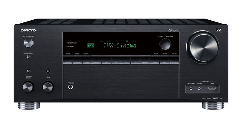ONKYO TXRZ730B 9.2 Channel Network A/V Receiver. THX Certified select reference sound. Dolby Atmos or DTS:X home cinema. Chromecast built in. WiFi, Airplay & Spotify. Colour Black