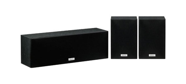 ONKYO SKS4800B Centre & Surround Speaker Package. 2-Way bass reflex centre speaker. 8cm Cone woofer x2 + 1x 2.5'' balanced dome tweeter. Full-range acoustic surround speakers. Colour Black