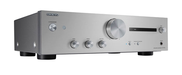 ONKYO A9110S Integrated Stereo Amplifier 50W + 50W High current amplification. Four ohm speaker driving capability. 4 x RCA, 1 x Phono, 1 line level out, 1 x Subwoofer out. Colour - Silver