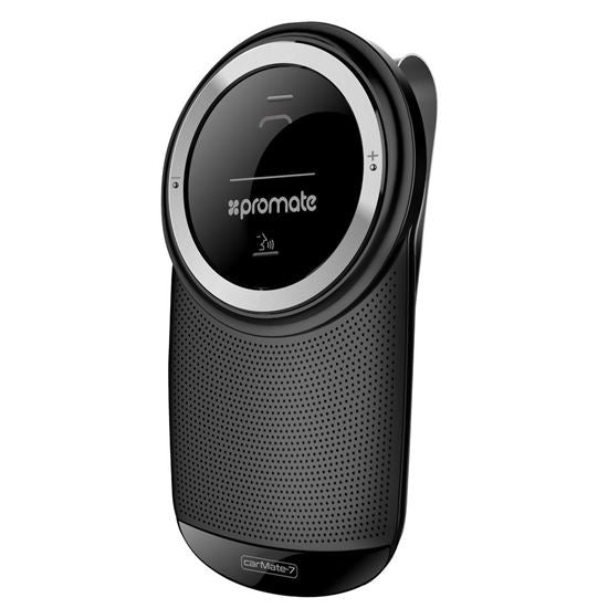 PROMATE 3W Multi-point Pairing Bluetooth v4.1 Car Kit with Music, Calls, Auto Power function. Colour Black
