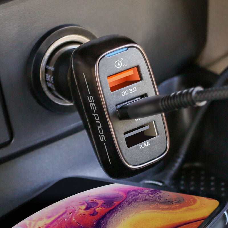 PROMATE 35W Car Charger with 3 USB Ports. Charge 3 Devices Simultaneously. 1x Qualcomm QC 3.0 Port, 2x USB-A Ports.