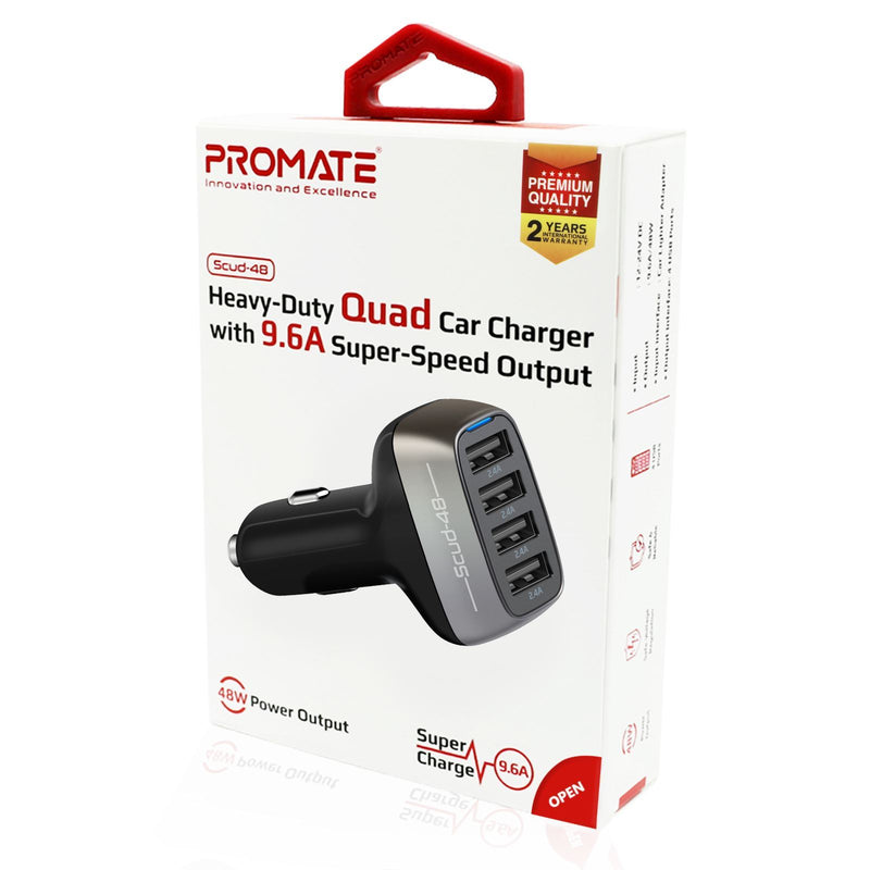 PROMATE 48W Car Charger with 4 USB Charging Ports. With up to 9.6A Total  Output. 2.4A USB-A Ports. Charge 4 Devices at the Same Time.