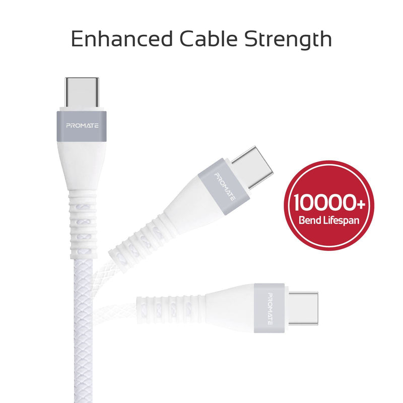 PROMATE 1.2m USB-A to USB-C Sync & Charge Cable. Highly Durable Anti-Break TPE with Braid Effect. 2A Fast Charging. High Bend Lifespan. 480Mbps Data Transfer Rate.