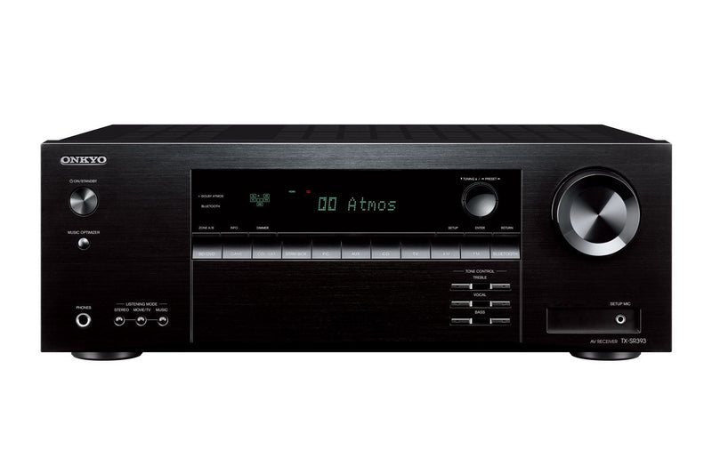 ONKYO TXSR393B 5.2 Channel AV Receiver 155W P/CH at 6 ohm. DTS-X and Dolby Atmos playback. 4 HDMI inputs 1 HDMI out with ARC. Dimensions - (WxHxD) 435x 160x328 Weight - 8.2kg, Black