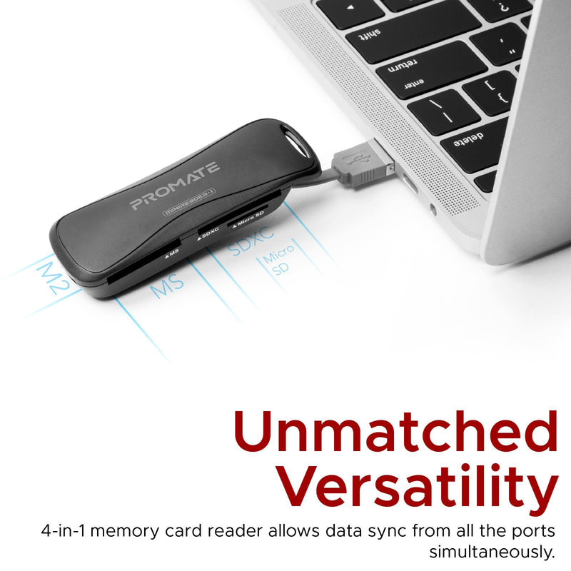 PROMATE 4-in-1 Portable Multi Memory Card Reader. Includes SD, MicroSD, MS and M2 Card Slots. USB 2.0 Type-A. 480Mbps Transfer rate. Plug and Play.  Black Colour.