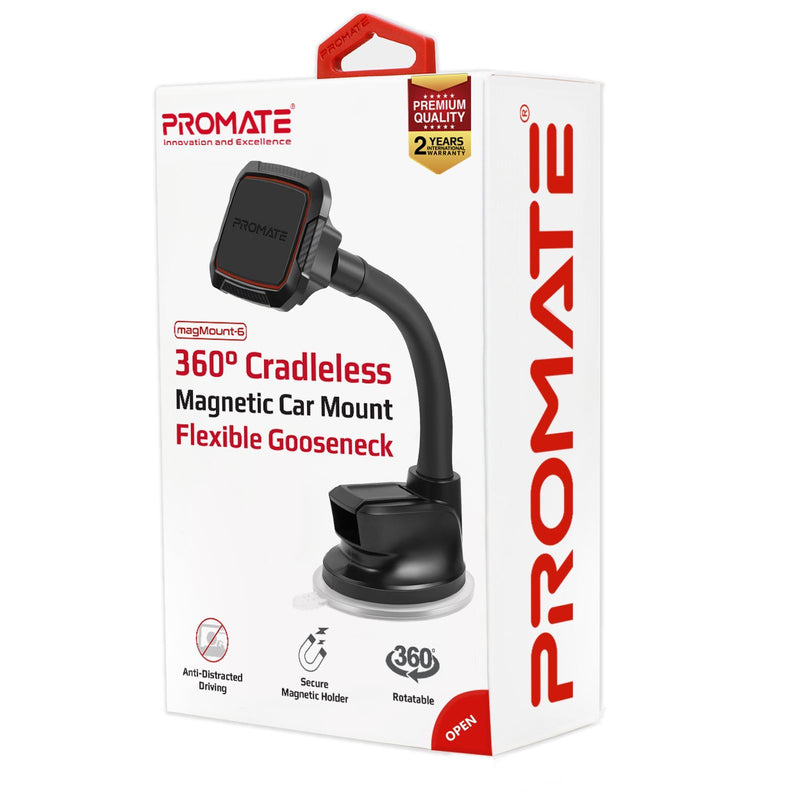 PROMATE 360 Cradleless Rotatable Magnetic Car Dashboard Mount with Flexible Gooseneck. Secure Anti-Slip Mount. For Dashboard & Windscreen. Easy to Use Quick Snap On/Off. Black & Blue Colour.