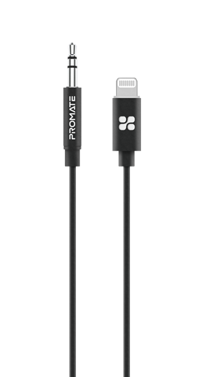PROMATE 1m Apple MFi Certified Lightning to 3.5mm Stereo Audio Cable. Integrated Digital-to-Analog Converter. Colour Black.