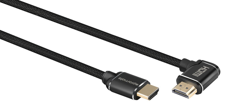 PROMATE 3m 4K HDMI right angle Cable. 24K Gold plated. High-Speed Ethernet. 3D support. Mesh Braided cable. Long bend lifespan. Max Res: 4K@60Hz (4096X2160)