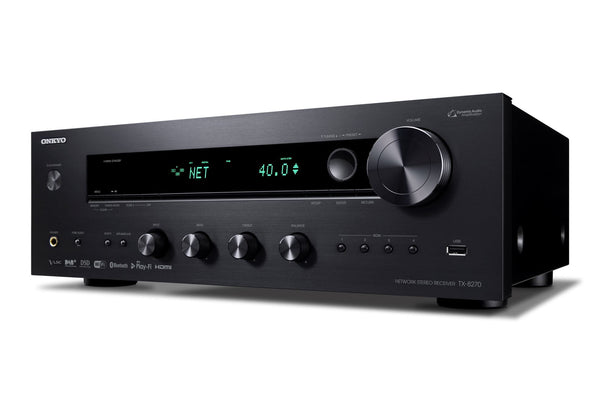 ONKYO TX8270B Network Stereo Receiver. Chromecast built in. DTS Play-Fi. Dual-band WiFi, Airplay & Spotify. Inter radio & streaming services. FlareConnect. HDMI 4 in, 1 out. Colour Black
