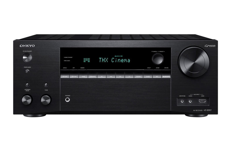 ONKYO HTS9800THXB 7.1 Channel Network AV Receiver & Speaker Package. THX integrated system. Dolby Atmos or DTS:X home theater. Chromecast built-in. Stream with DTS Play-Fi, Airplay, FlareConnect. Colour Black