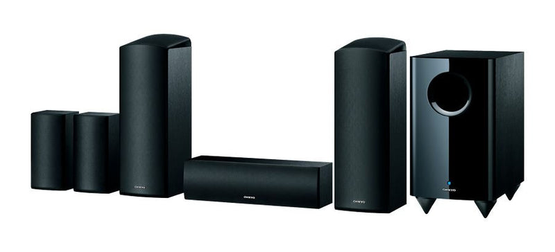 ONKYO SKSHT588B 5.1.2 Channel Home Cinema Speaker System. Dolby Atmos-enabled front & high speakers. 2-Way bass reflex centre speakers. Full-range acoustic surround speakers. Bass