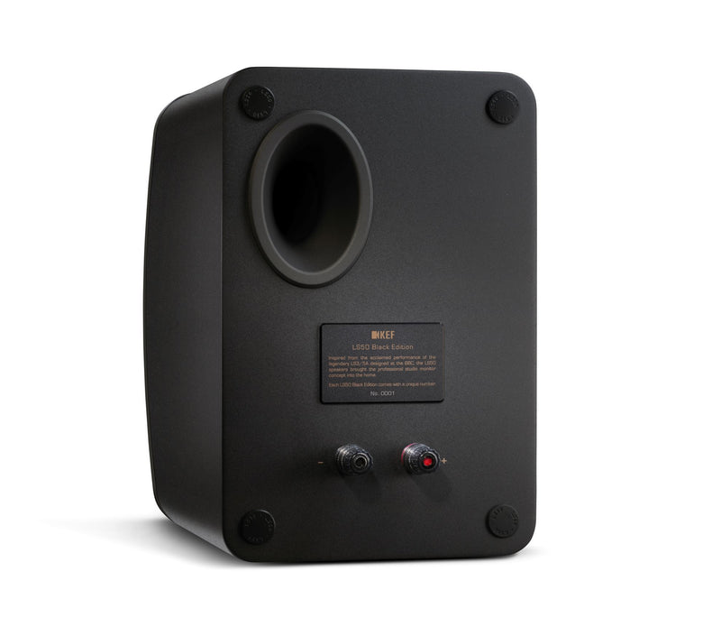 KEF LS50 Black Edition Innovative Studio Monitor Speakers.  Matte Black. SOLD AS A PAIR