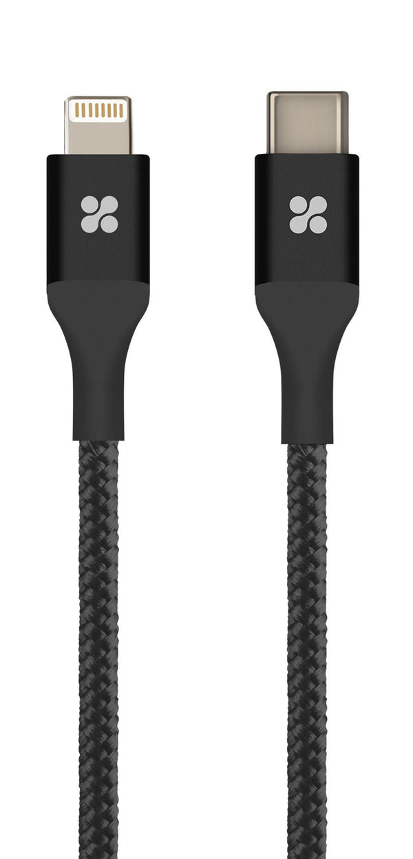 PROMATE 1.2m USB Type-C OTG cable with Lightning connector. Sync & charge - Up to 2.4Amps. Abrasion-resistant braided nylon Jacket. Colour black.