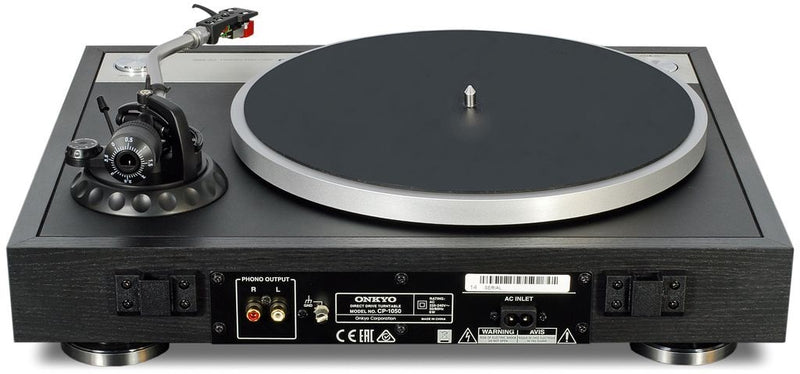 ONKYO CP1050 Direct Drive Turntable. Clear audio with direct drive. Quality tone-arm and cartridge. Effective anti-vibration design. Selectable rotation speeds.